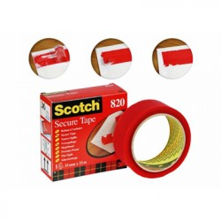 Scotch Rotolo Scotch Adesivo Secure tape Rosso 35 mm x 33 Mt 93008