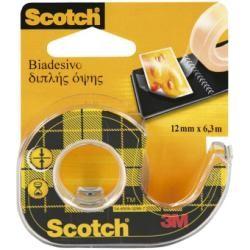 Scotch Rotolo Nastro Biadesivo Trasp con Chiocciola 12 mm x 6,3 Mt 97291