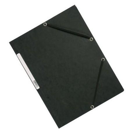 Exacompta 10 Cartoncini 3 lembi chiusura elastico 24 x 32 Cm Neri 55301E
