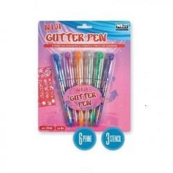 Niji Blister con 6 Penne Glitterate + 3 Stencil 5340