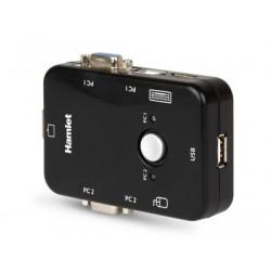Hamlet KVM Smart Control Switch a 3 porte usb con 2 set di cavi KVM inclusi HNKVM3U