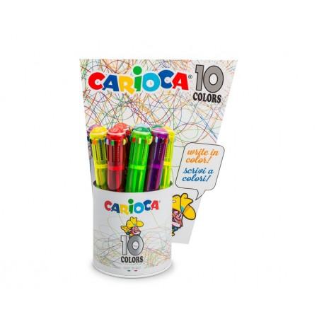 Carioca 10 Colors Clip on retractable ballpoint pen Multi 12pezzoi 42761
