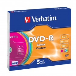 Verbatim DVD R Colour 4,7 GB 5 pezzoi 435575