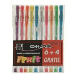Koh I Noor NAGP10F Cappuccio Blu, Verde, Arancione, Rosa, Rosso, Viola, Bianco, Giallo 10pezzoi penna gel