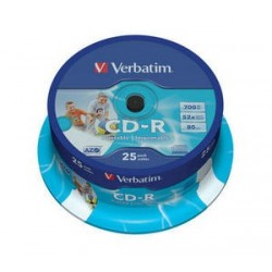 Verbatim CD R AZO Wide Inkjet Printable CD R 700MB 25pezzoi 4343925
