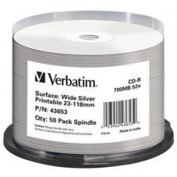 Verbatim SPINDLE 50CDR WIDE SILVER PRINTABLE