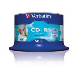 Verbatim CD R AZO Wide Inkjet Printable CD R 700MB 50pezzoi 4343850