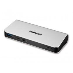 Hamlet Docking Station collega due display HDMI e DP con 4 porte usb 3.0, LAN e audio HDOCKS500C