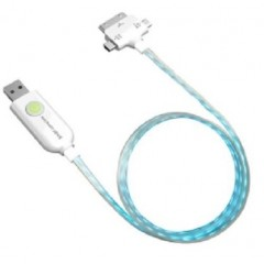 Kentron Cavo luminoso e ricarica con Mini USB, Micro USB e 30 pin 1 Mt per iPod, iPhone, iPad KELIGHTRIO