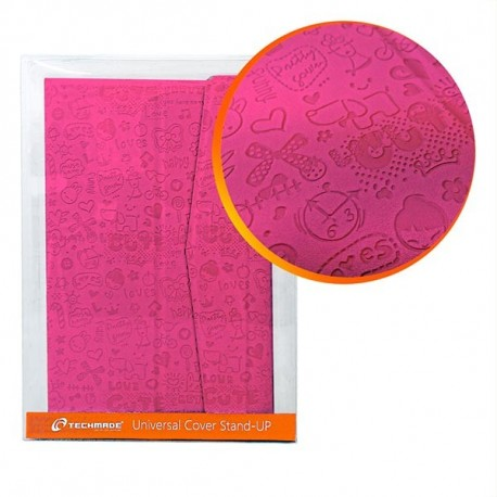 Techmade Custodia rigida per Tablet 7  in Ecopelle con Stand Up Rosa TM-07XV-PK